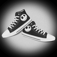 Skull Logo Black High Top Custom Casual Shoe For Men